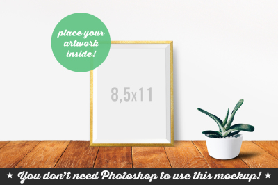 Non Photoshop Mockup Frame with Green Plant