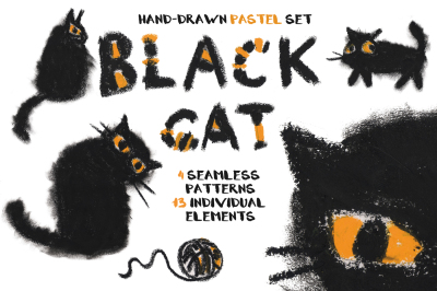 Black cat hand-drawn pastel set