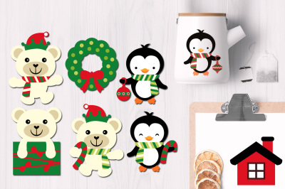 Christmas Polar Bears and Penguins
