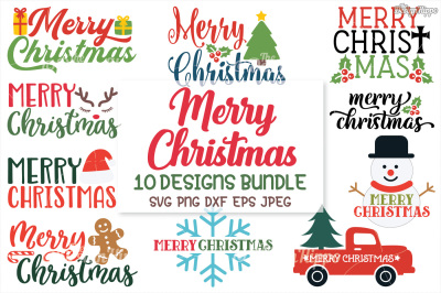 Merry Christmas SVG Bundle, Christmas SVG, PNG, DXF, Cricut, Cut Files