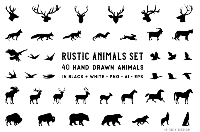 Rustic Animals Clipart - AI PNG EPS