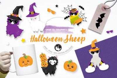 Halloween Llamas graphics and illustrations