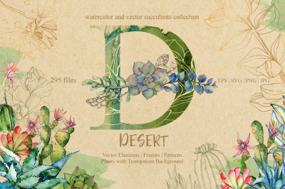D-desert EPS, SVG, PNG, JPG set