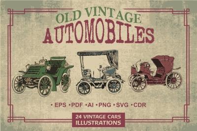 24 Old Vintage Automobiles Illustrations