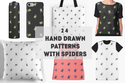 24 hand drawn pattern with spiders