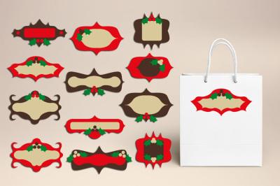Christmas Labels Frames Graphics