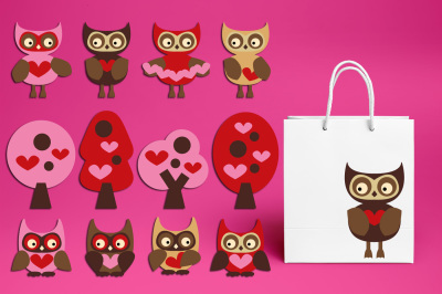 Valentine Owls Trees with Heart