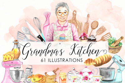 Watercolor Grandma's Kitchen Bundle Utensils Cooking Baking Cake