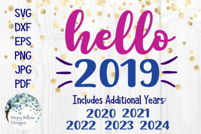 Hello 2019 New Year's SVG