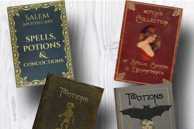 Spells & Potions Witches Book Covers / Halloween