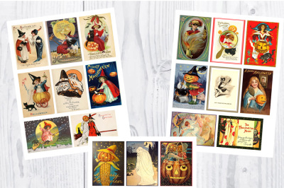 Halloween Postcards ATC Size; 48 Vintage Cards