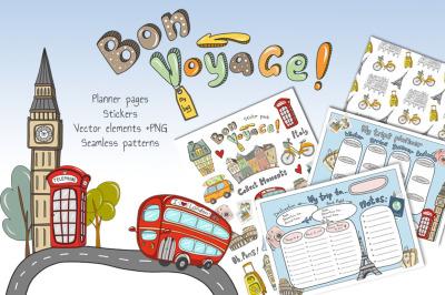 Bon Voyage vector set