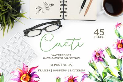 Cacti PNG watercolor set
