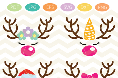 Reindeer girl face, Reindeer Svg, Reindeer face Cut Files, Xmas svg