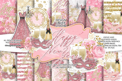 Happy New Year digital paper