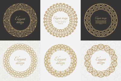 Round decorative baroque patterns