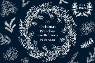 50 Hand Drawn Christmas Branches, Wreaths, Laurels, Dividers