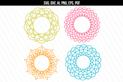 Mandala SVG, DXF cutting files, Mandala monogram frames, Vector