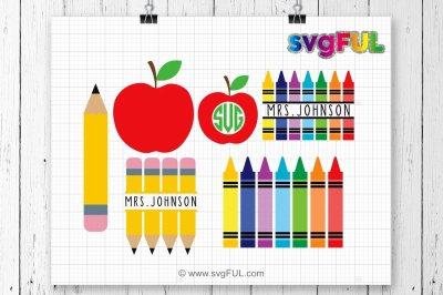 Teacher Svg, Crayon Split Monogram Svg, Pencil Svg, Crayons Svg