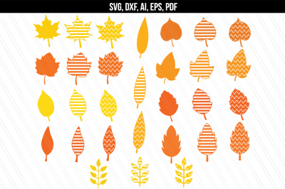 Autumn Fall leaves SVG, DXF, Clip art, Cricut