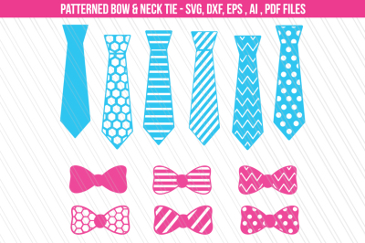 Bow Neck Tie SVG, DXF cut files