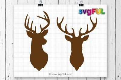 Deer Svg, Deer Head Monogram Svg, Christmas Svg, Boho Svg, Deer Clip