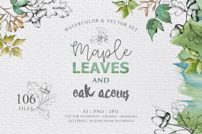 Maple leaves and oak acorns set