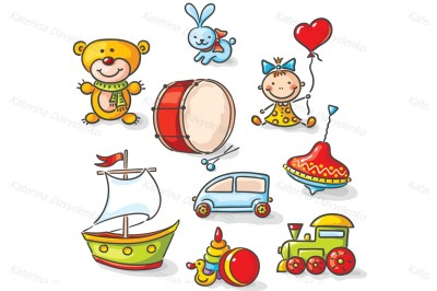 Set of colorful cartoon toys. Clipart toys for kids