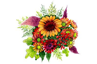 Bouquet of wild flowers PNG watercolor set