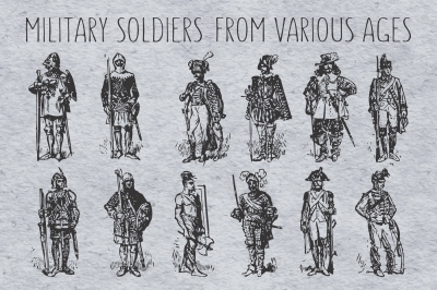 Military soldiers from various ages vector illustration set