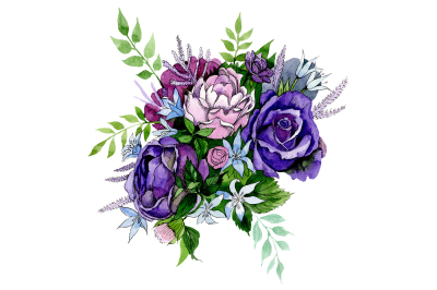 Bouquet of pink and purple roses