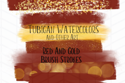 8 Red and Gold Brush Strokes perfect for Christmas