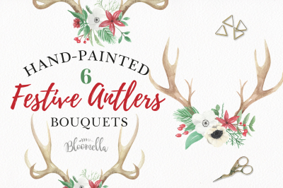 Antlers Bouquet Floral Red Green Christmas Stag Flowers Leaves Winter