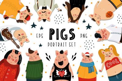 Pigs Portarait Set