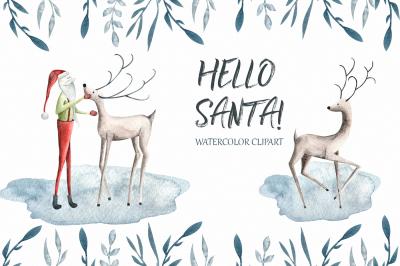 Hello Santa Watercolor clipart
