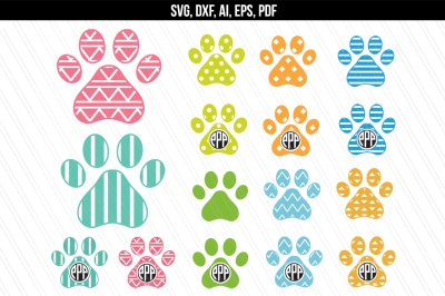 Dog paw monogram svg, dxf cut files, Vector