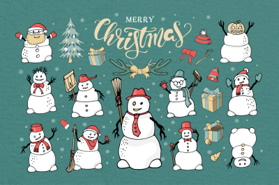 Set of Christmas snowmans