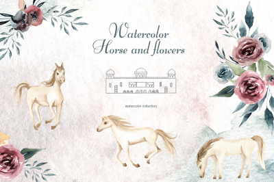 Watercolor Horse and flowers