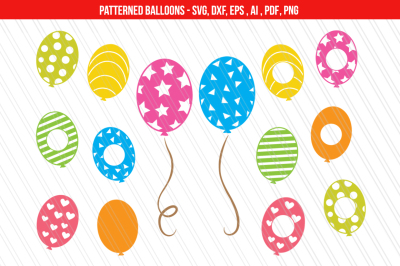 Birthday balloons SVG, DXF cutting files, Balloons clipart