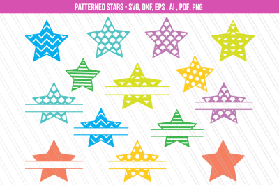 Star SVG, Star clipart, Patterned Star svg, split monogram svg,dxf