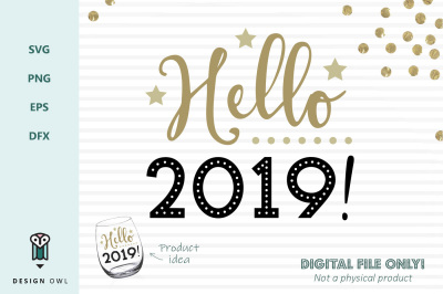 Hello 2019 - New years SVG file
