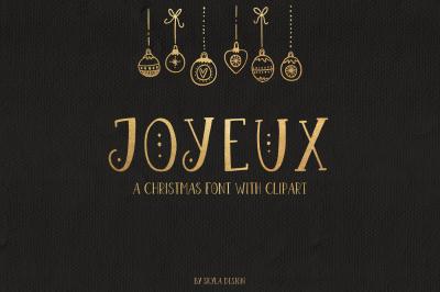 Joyeux Christmas font & Dingbat clipart illustrations