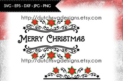 2 Split monogram cutting files, christmas svg, poinsettia svg
