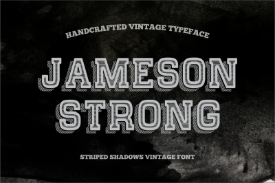 Jameson Strong covered Striped Shadow - vintage typeface.