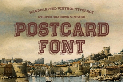 Postcard Font covered Striped Shadow - vintage typeface.