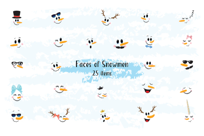 Snowman Faces clip art
