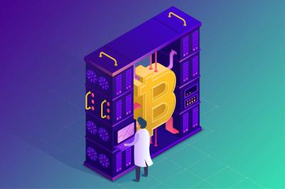Bitcoin and Ethereum farm concept