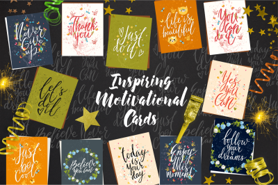 Inspiring Motivational Cards. Lettering