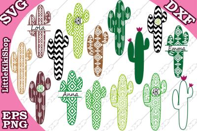 Cactus Monogram Svg, BUNDLE MONOGRAM SVG, Western Svg