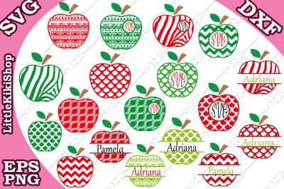Apple Monogram Frames Svg, APPLE BUNDLE SVG, Teacher Svg